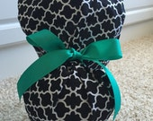 Turn Up Ponytail Scrub Hat in Black White Lattice CHOOSE RIBBON COLOR