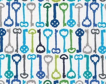 Ashton Road fabric by Valorie Wells for Robert Kaufman, Blue fabric - Keys in Cabana- You Choose the Cuts. Free Shipping Available