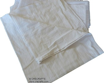 """7 Vintage Style Feed Sack Plain Flour Sack Towels White 27"""" x 29"""" Make your own Embroidered Towels"""