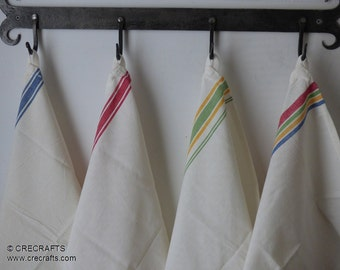 """3 Vintage Style Striped Feed Sack blank Flour Sack Towels 18"""" by 28"""" Make your own Embroidered Towels"""
