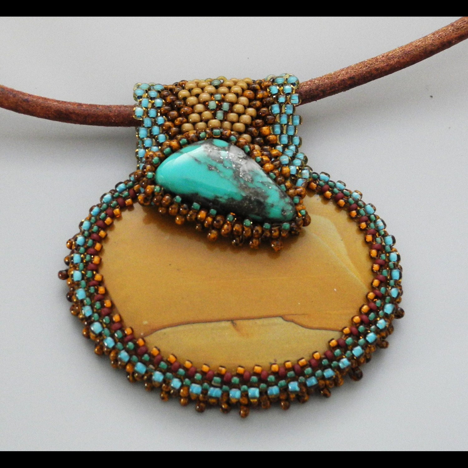 Beads Necklace Beads: Beaded Cabochon Necklace Gratitude Bead Weaving By CheriCMeyer