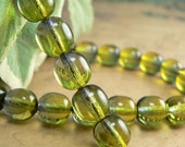 Olive Capri Czech Glass Beads Druk Round Green Blue 8mm (30)