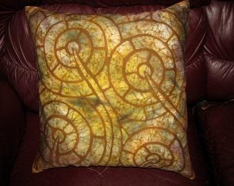 "Batik Pillow Cover ""Martian Plants"""