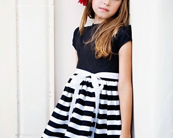 Retro 1960's Style Black and White Stripe Dress children child girls clothing