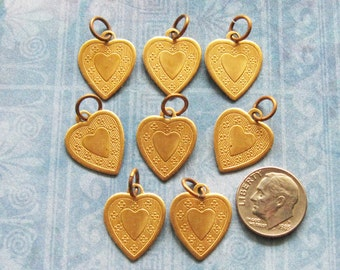 Brass Heart Charm Pendant Finding Lot (Set of 8) Antique Jewelry Hardware Floral Embellishment