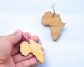 Africa Earrings, Natural Wood earrings,  Wood earrings, Large Africa Earrings, Afrocentric Earrings