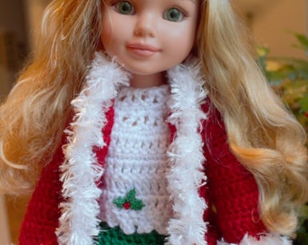 Crochet outfit Best Friends Club 18 inch doll Pants Set Yarn Holly Red Green White Christmas