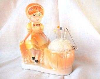 Vintage Ceramic Planter - Little Girl Sitting next to Potted Pin Cushion Lusterware