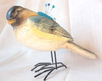 Adorable Resin Standing Blue Bird with Big Feet Remade into Pin Cushion