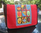 Lucha Libre Canvas Courier Bag, Red Canvas Mexican Wrestler Messenger Bag, Superhero Crossbody Bookbag