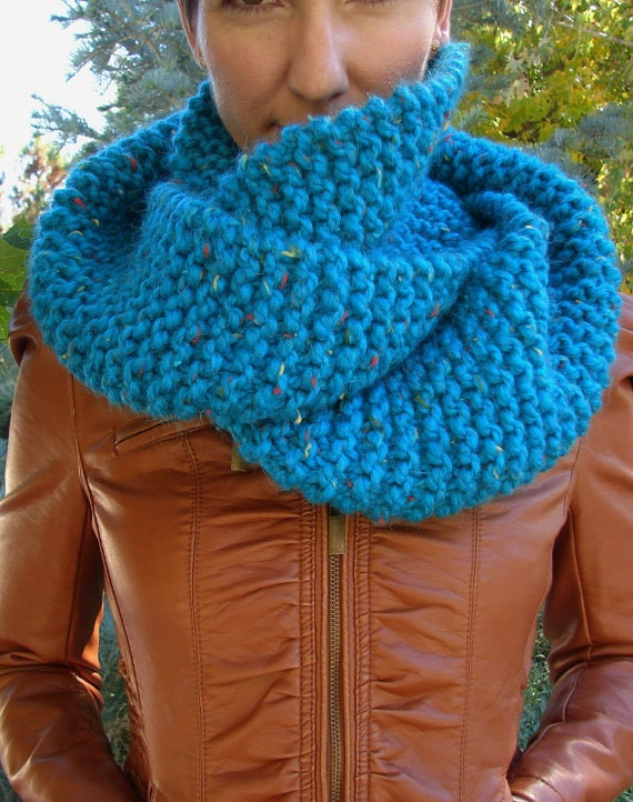 Infinity Scarf Knitting Pattern Garter Stitch : Hand Knit Warm Chunky Soft Yarn Garter Stitch by ...