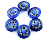 6 Vintage plastic buttons, blue with gold line, high quality 25mm