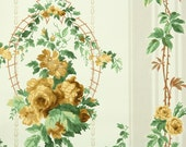 1940s Vintage Wallpaper - Yellow Cabbage Roses and Garland
