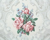 1940s Vintage Wallpaper by the Yard - Pink Cabbage Roses on White, Floral Wallpaper