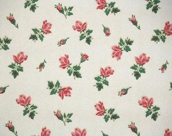 1940s Vintage Wallpaper by the Yard - Dark Pink Rosebuds on White