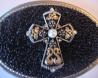 Rhinestone Belt buckle Womens - Multi Cross  - wearable art