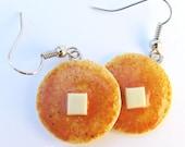 Pancake Earrings, Food jewelry, breakfast jewelry, breakfast earrings, maple syrup, buttered pancakes, miniature food, clay food jewelry
