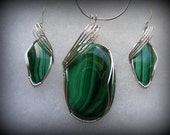 Reserved for Jim - pendant only Malachite Milkyway