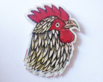 Rooster Art - Rooster Print - Rooster Print on Wood - Ready to Hang Art - Farm House Decor - Rooster Painting - Chicken Art