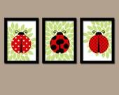 LADYBUG Wall Art, Lady bug Nursery Baby Girl Nursery Wall Art, Girl Bedroom Pictures, Girl Nursery Artwork Set of 3 Canvas or Prints