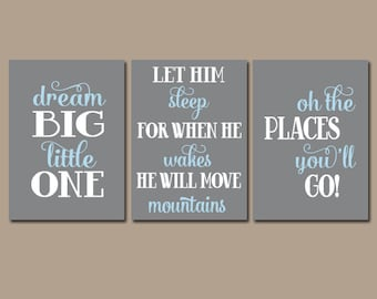 BOY Nursery Wall Art, Nursery Quote Artwork,Dream Big Let Him Sleep Oh The Places You'll Go, Boy Bedroom Pictures, Canvas or Prints Set of 3