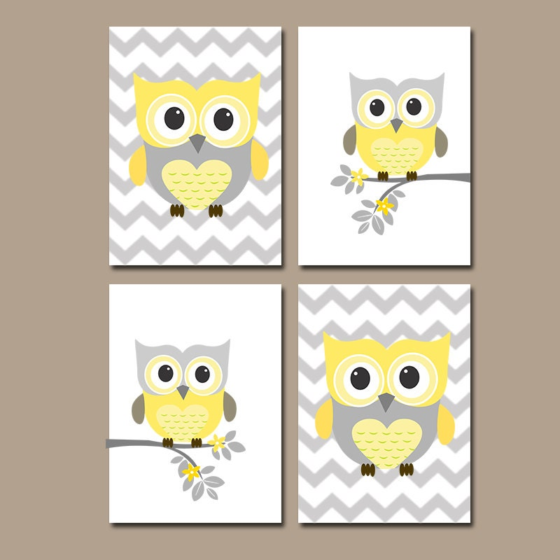 Girl yellow gray owl nursery prints girl nursery wall by for Baby owl decoration
