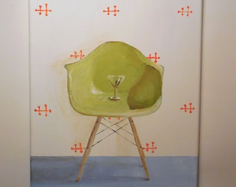 Eames Chair painting original vintage chair still life retro art with Martini glass