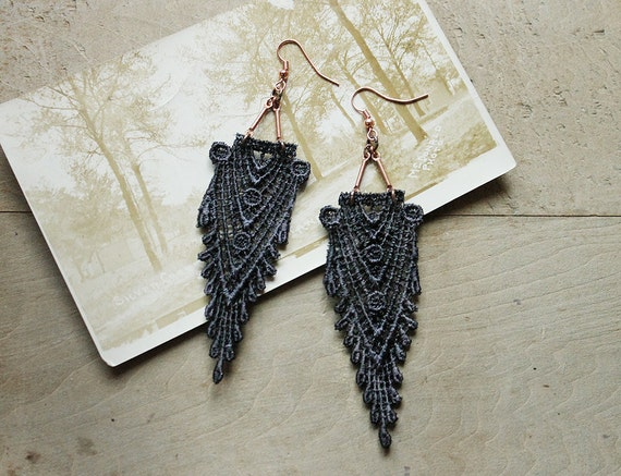 art deco lace earrings // HIPPOLYTA // gray earrings,  gatsby style, boho chic,  wedding, gift for her,  long earrings, anthro style