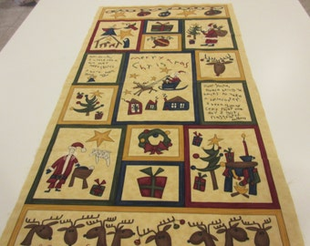 Quilted Wall Hanging or Table Topper of Nativity, Toys, and Letters to Santa