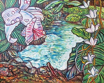Art Painting on canvas -- Amazon Lagoon -- 22 x 28 Inch Original Painting by Elizabeth Graf, Oil Painting