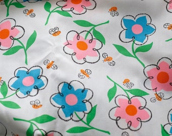3 Yds Super Cute Vintage 60s Mod Bee + Flower Power Fabric Pink Blue Daisy Happy