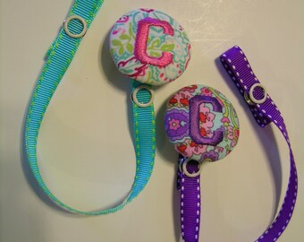 2 for 13 Bucks Personalized Pacifier Paci Binky Holders Clips Baby Handmade U Design Monogram Name or Initial Twins