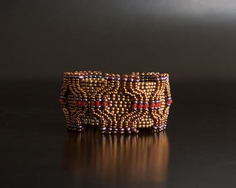 Bronze Cuff Bracelet with Orange Swarovski Crystals and Purple Beads. Textured Geometric Retro Style Beaded Bracelet with Slide Clasp. S187