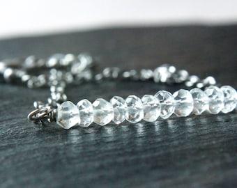 Clear Quartz  Bracelet Oxidized Silver Gemstone  Jewelry  Gem Stone Bracelet  Rock Crystal Jewelry April Birthstone Jewellery Chakra Crystal