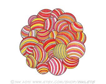 Geometric Circles Zen doodle Coloring Page Printable, Striped Circles Digi Stamp, Art Therapy, DIY Printable Art, Inklets Illustration