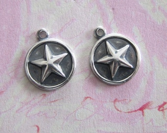 2 Silver Star Charms 3626