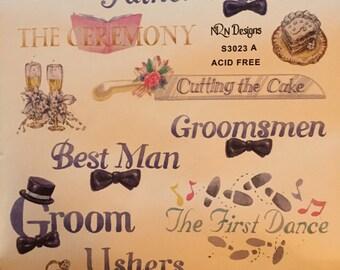 Scrapbook stickers Wedding Groom Best Man