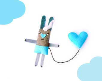 Cute Bunny Brooch, Hipster Jewelry, Baby Blue, Funny Brooch