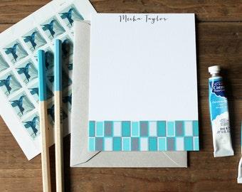 Mod Rectangle Pattern Flat Notes / Aquas - Set (10)