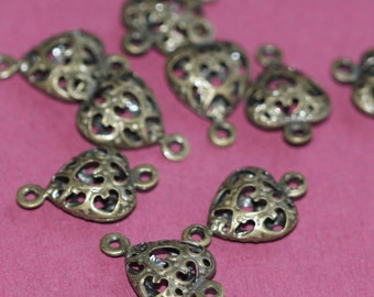 20 pcs of antique brass filigree heart connector link 14x9mm