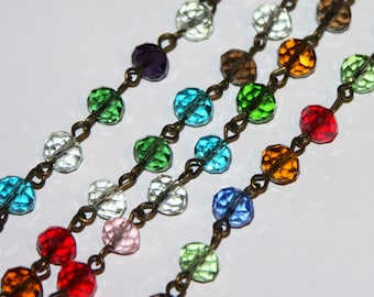 3ft of antique brass chain with multi color glass rondelled beads, chain with glass beads, beads chain