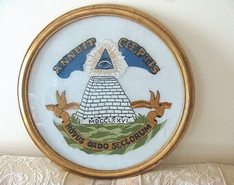 Vintage All Seeing Illuminated Eye Embroidery Masonic