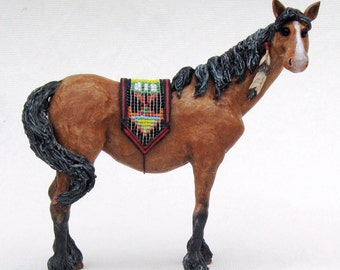 Horse wuth Beaded Blanket Original Sculpture