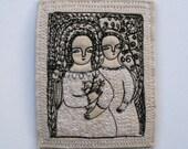 in a garden - portrait of women - embroidery artwork