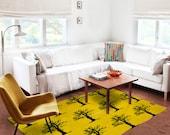 Decorative Rug, yellow rug, original carpet, geometric carpet, modern decor, contemporary rug, tree carpet, birds, black and yellow