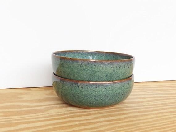 Rustic Pottery Soup Bowls in Sea Mist Glaze - Stoneware Ceramic Bowls - Set of 2