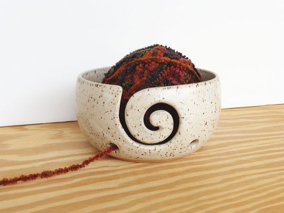 Pottery Yarn Bowl Ceramic in Satin Oatmeal Glaze -  Spiral Design with 2 Holes