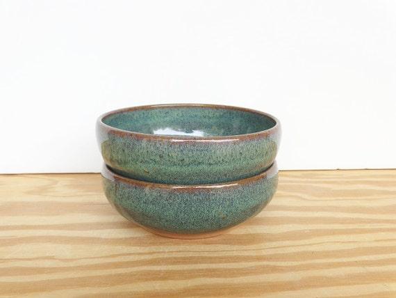 Pottery Prep Bowls Stoneware Ceramic in Sea Mist Glaze - Set of 2