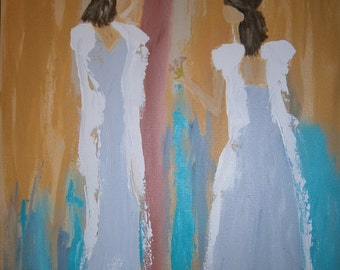 """Acrylic, 24 x 48, """"Sisters...Peace Offering"""", Original Painting"""