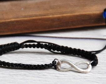 Black Infinity Bracelets, Hemp Jewelry. Infinity Initial Bracelet. Macrame infinty bracelet